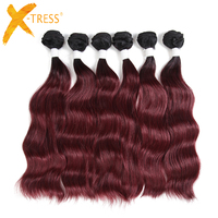 Ombre Black BURG 99J Natural Wave Synthetic Hair Weaving 6 Bundles 14 20inch X TRESS High Temperature Fiber Hair Weft Extensions