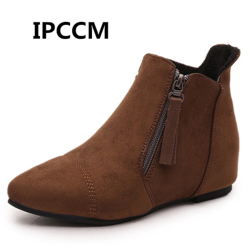 Fashion Inside Heighten Martin Booter Scrub Zipper Bare Boots Pointed Chelsea Thick Heel Booties image