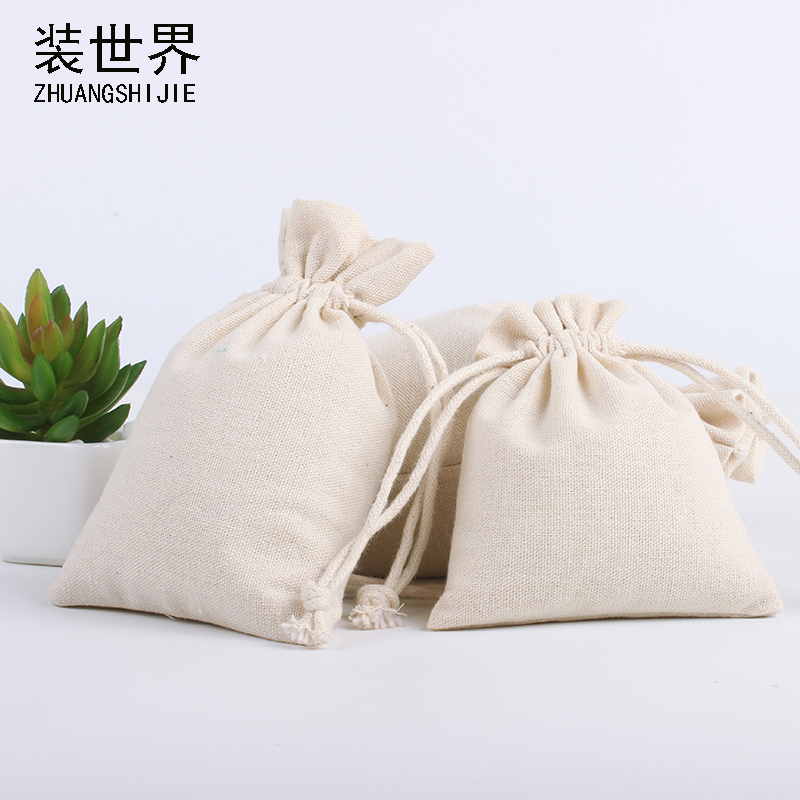 10*12cm Wholesale Price Natural Resuable Jute Linen Drawstring Pouch Packaging Gift Bag Logo Printed Jewelry Christmas Bag