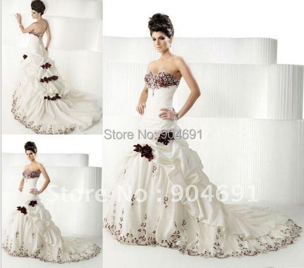 Sweetheart bridal dress white ivory taffeta red burgundy for Red wine wedding dress