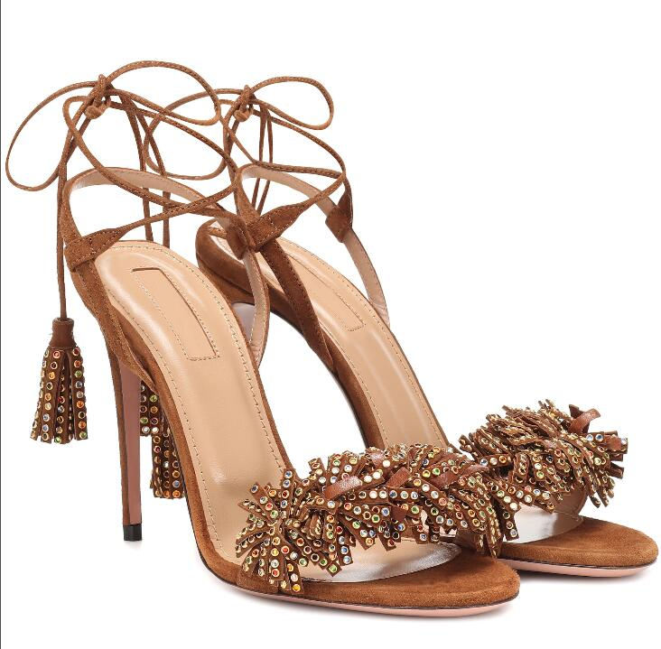 Hot  Sexy Brown Genuine Leather Ankle Strap Shoes Peep Toe Thin Heels Back Womens Fringe Lace-Up Ladies Sandals