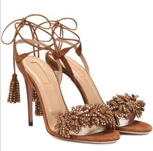 Hot  Sexy Brown Genuine Leather Ankle Strap Shoes Peep Toe Thin Heels Back Strap  Women's  Shoes Fringe Lace-Up Ladies Sandals hot selling american and european sexy black leather sandals peep toe chain fringe amazing party dress shoes