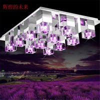 Modern Rectangle Luxury Crystal Lamp Adjustable Red Purple Blue Three Kinds Of Light