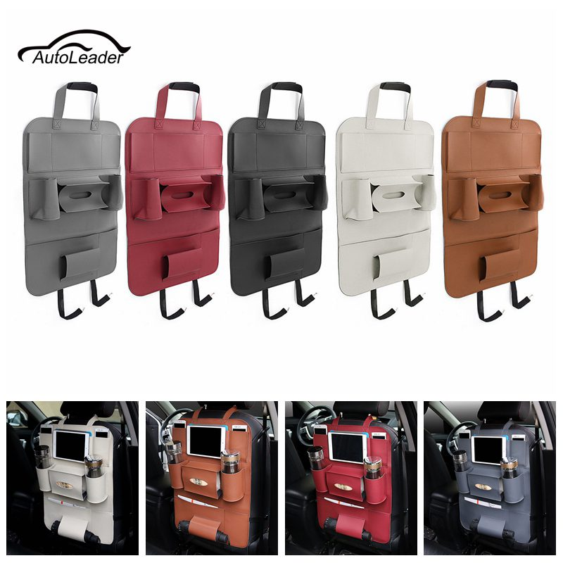 Leather Auto Car Seat Storage Bag Car Seat Back ravel Storage Bag Hanger Car Styling Back Car Seat Cover Organizer Holder car seat storage auto garbage boxes accessories
