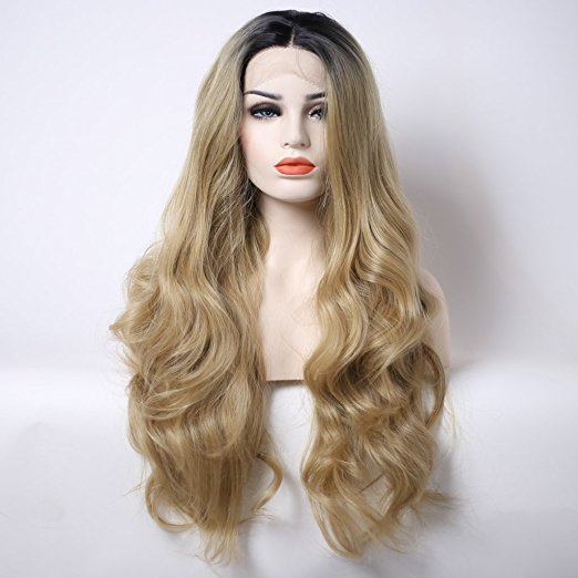 ФОТО hot sales dark roots long wavy ombre blonde wig synthetic lace front wigs body wave hair heat resistant fiber in stock
