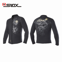 SLINX 5MM Unisex Diving Jackets Chinese Dragon Printed Neoprene Fleece Lining Wetsuit Zipper Cuff for Winter Snorkeling Surfing