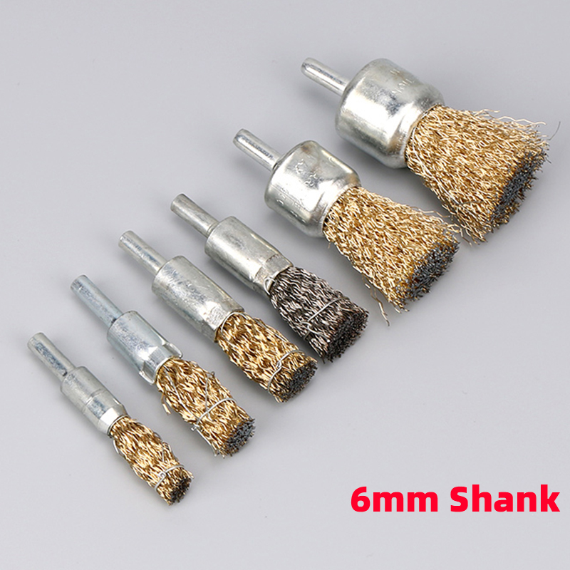 1Pcs Professional 6mm Shank Copper Plating Stainless Steel Wire Wheel Brushes Grinder Rotary Tool Connecting Rod Polishing Brush