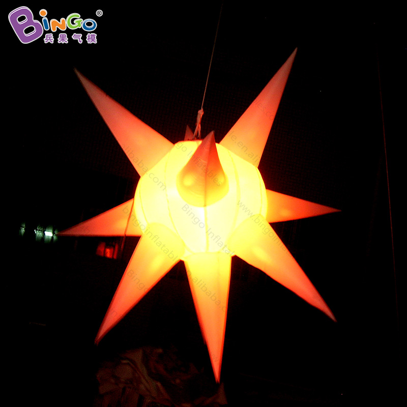 Customized 1 meter inflatable LED star hanging lighting decoration blow up star for bar and party light-up toy