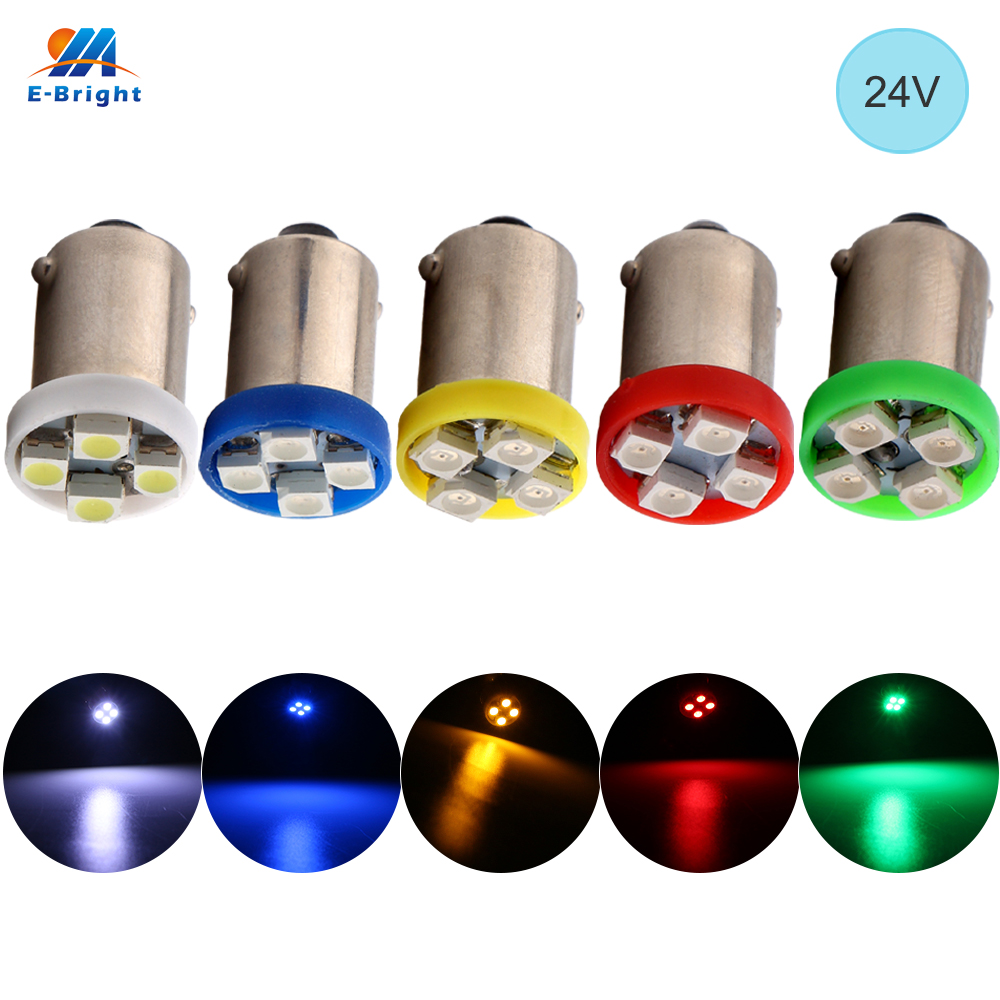 YM E-Bright 24V DC 10 PCS BA9S T4W T11 1210 <font><b>4</b></font> <font><b>SMD</b></font> <font><b>LED</b></font> Bulbs White Blue Red Green Amber Map Lights Auto Car Lights <font><b>4</b></font> <font><b>LEDs</b></font> image