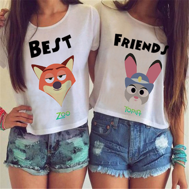 SexeMara Knitting F1733 2016 New Arrival Summer Women T shirt The BEST FRIENDS Zootopia Print Tops  Harajuku Tees For Lady