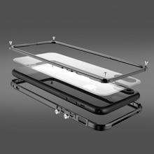 金属バンパーのための iphone 8 ケースカバーのための高級アルミフレーム iphone 8 プラスクリア透明バック耐震電話ケース