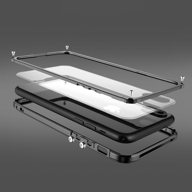 מתכת פגוש עבור iphone 8 מקרה כיסוי יוקרה אלומיניום מסגרת עבור iphone 8 בתוספת ברור שקוף חזרה עמיד הלם טלפון מקרה