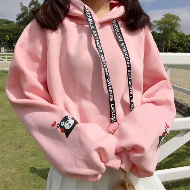 Harajuku Mode Herfst Winter Vrouwen Hoodies Leuke Beer Print Meisjes Hoodies Losse Plus Fluwelen Sweatshirt Lange Mouw Truien