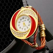 Роскошные Для женщин золотого и красного цвета металлический браслет часы модные Повседневное женские Стразы браслет часы креативные женские часы Relogio Feminino
