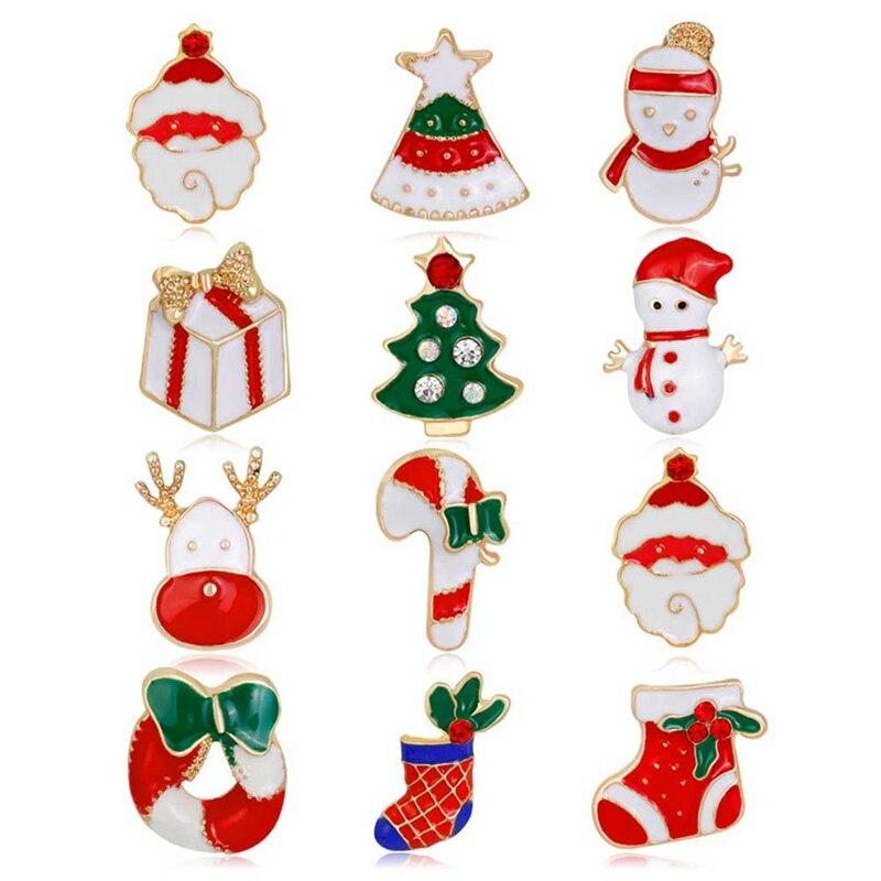 1Set Cartoon Christmas Brooches Pins Snowman Santa Claus Tree Jingle Bells Socks Donuts Candy ...