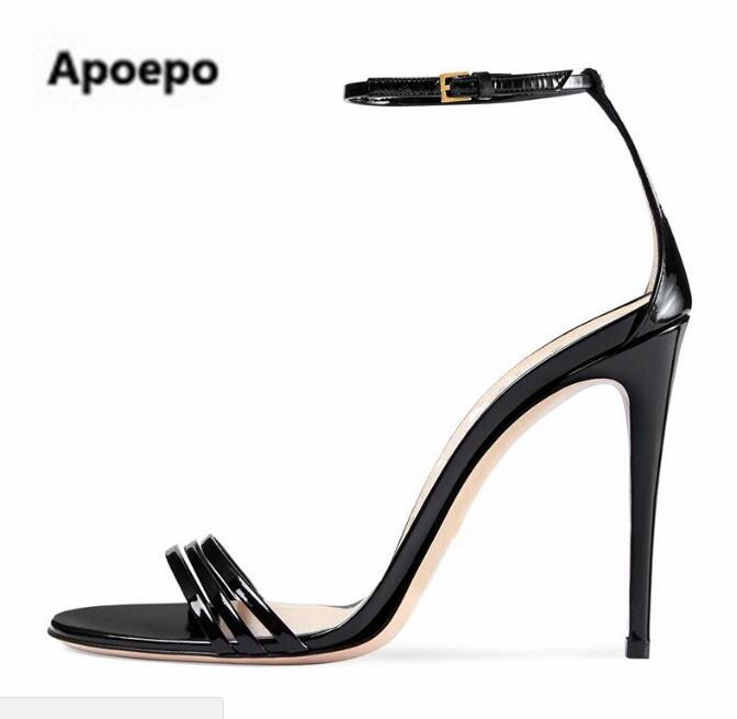 Apoepo brand concise women sandals black Patent leather sexy high heels shoes women summer buckle stiletto ladies pumps newest luxury brand crystal patent leather sandals women high heels thick heel women shoes with heels wedding shoes ladies silver pumps