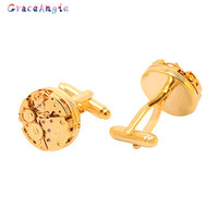 Gold Watch Movement Cufflinks for immovable Stainless Steel Steampunk Gear Watch Mechanism Cuff links for Mens Relojes gemelos