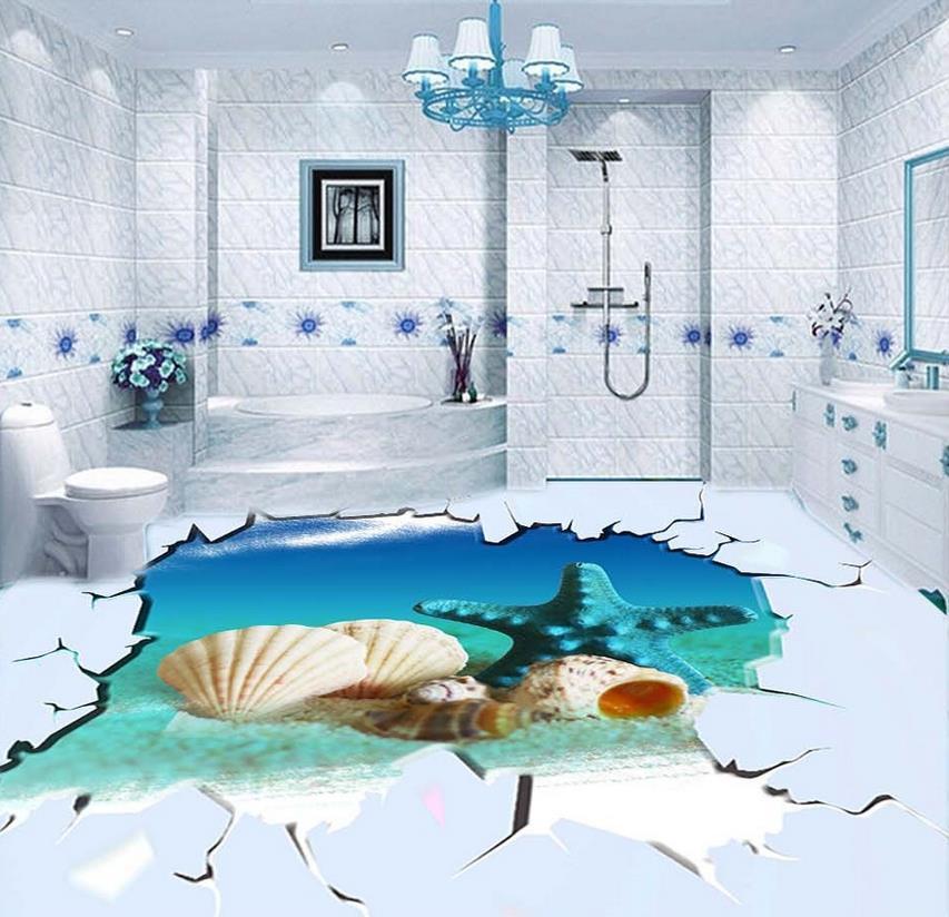 ФОТО 3d wallpaper Home Decoration 3d pvc wallpaper Beach 3D floor design waterproof wallpaper for bathroom wall