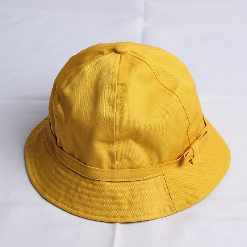 2018 Baumwolle Gelb Solide Campaniform Eimer Hut Fischer Hut Sonne Kappe Hüte Für Mädchen Und Frauen 473 QualitäT Zuerst