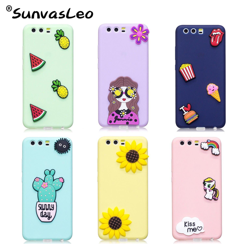 For Huawei P10 / P10 Plus / P20 / P20 Lite / Pro 3D Silicone Case,Phone Soft Back Cover Cartoon Skin Shell Fundas Coque Capa