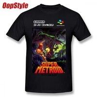 Супер Metroid nintendo Super Famicom японская коробка искусство рубашка SNES Футболка мужская Homme Пользовательские Короткий рукав плюс размер Мужская футб...