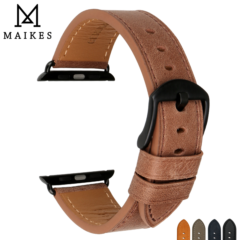 MAIKES Genuine Leather Strap Watchband For Apple Watch Bands 42mm 38mm Series 3/2/1 iWatch band 42mm Apple Watch Wristband цена