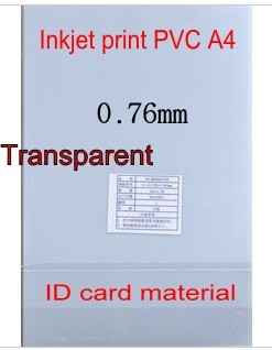 Transparent ID Cards Printing material, Blank Inkjet print <font><b>PVC</b></font> <font><b>sheets</b></font> A4, 50sets, double side print, 0.76mm thick image