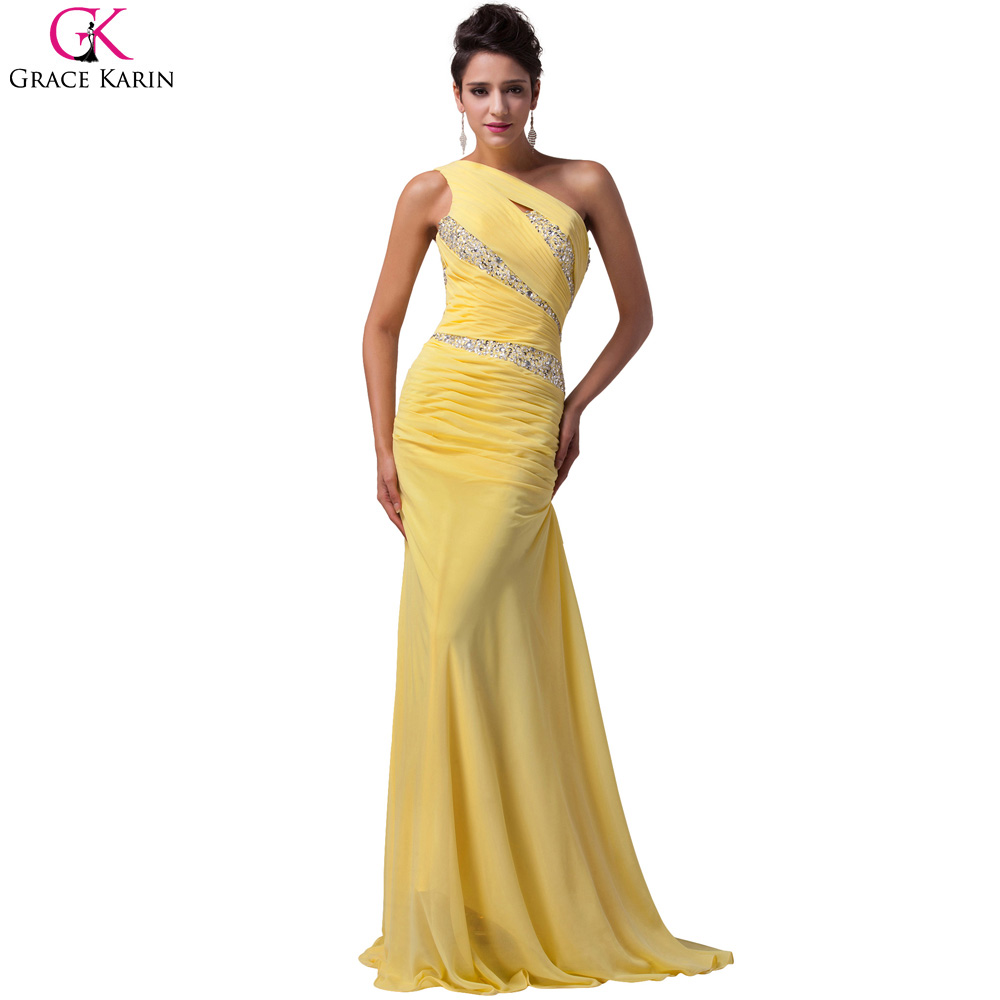 9ba8af6b4c3 Yellow Blue Purple Long Prom Dress Grace Karin Chiffon Sequin One ...