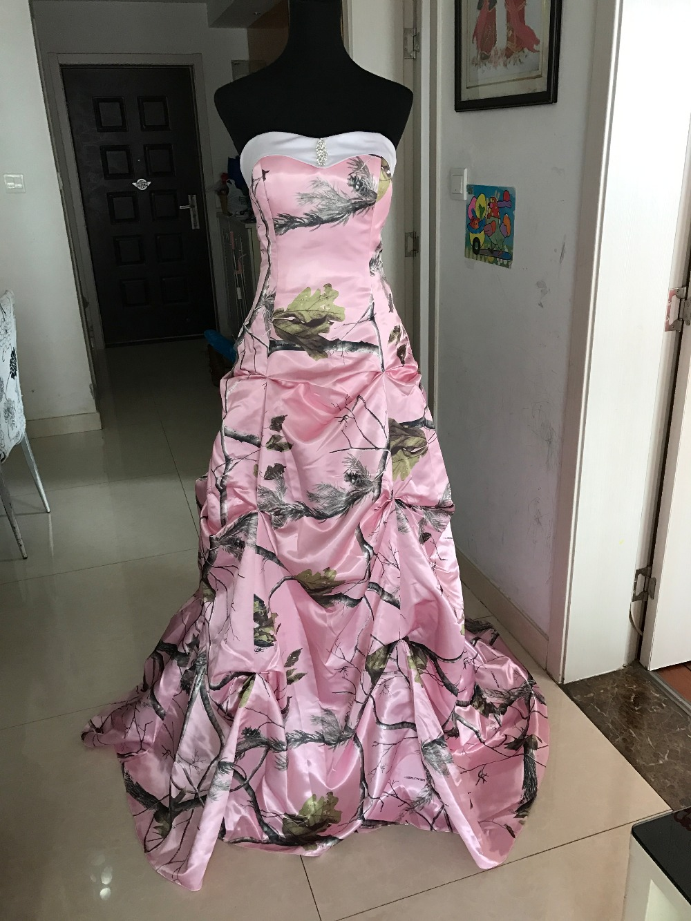 Pic verdadero Vestido de Novia Drapeado Falda de Camuflaje Camo ...