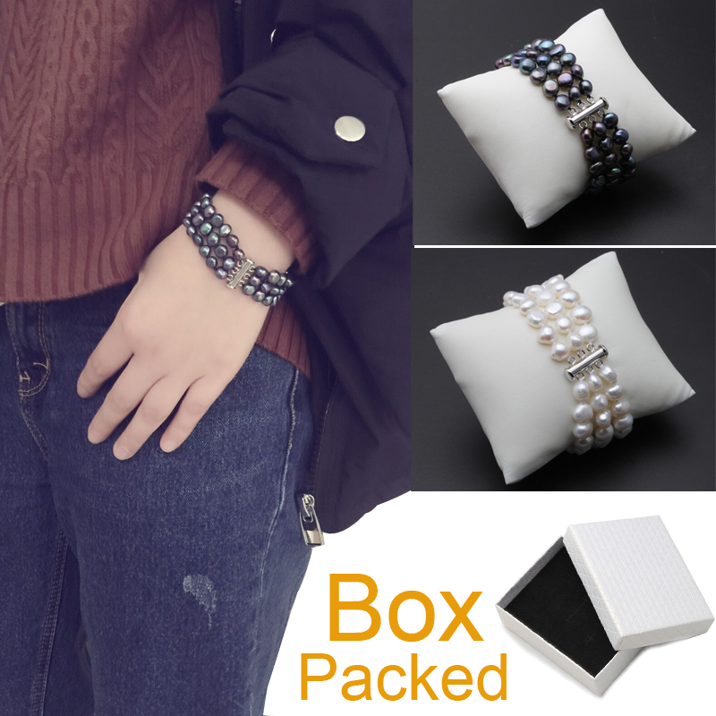 White real freshwater black pearl bracelet women,multilayer natural pearl bracelet jewelry daughter girl best gift birthday