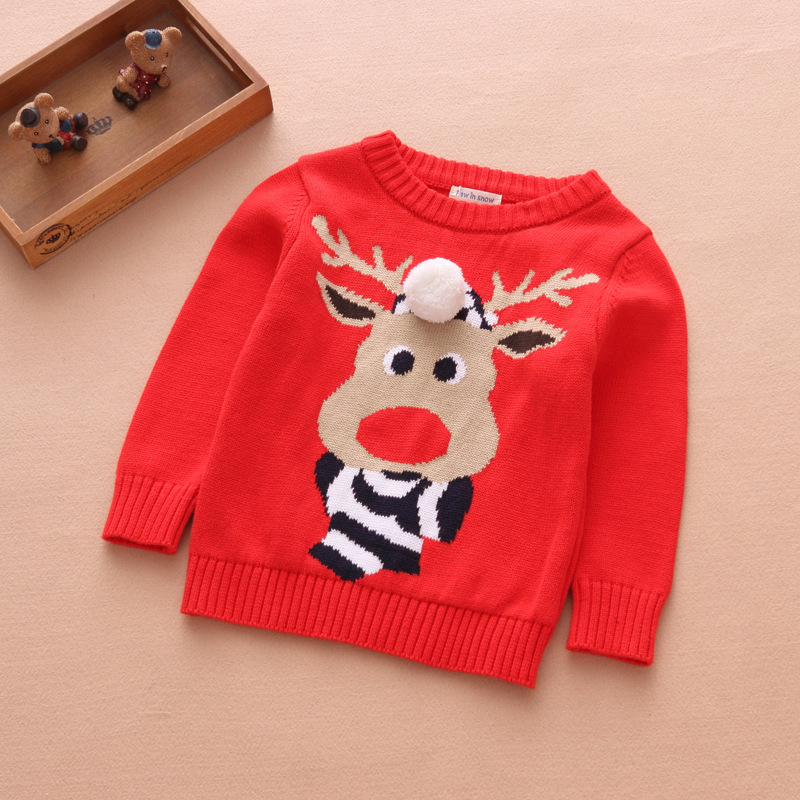 2018 Christmas Kids' Reindeer Red Sweater Cartoon Pattern Shirt Cute Cosplay Kids Xmas Present Santa Claus Cosplay Gifts