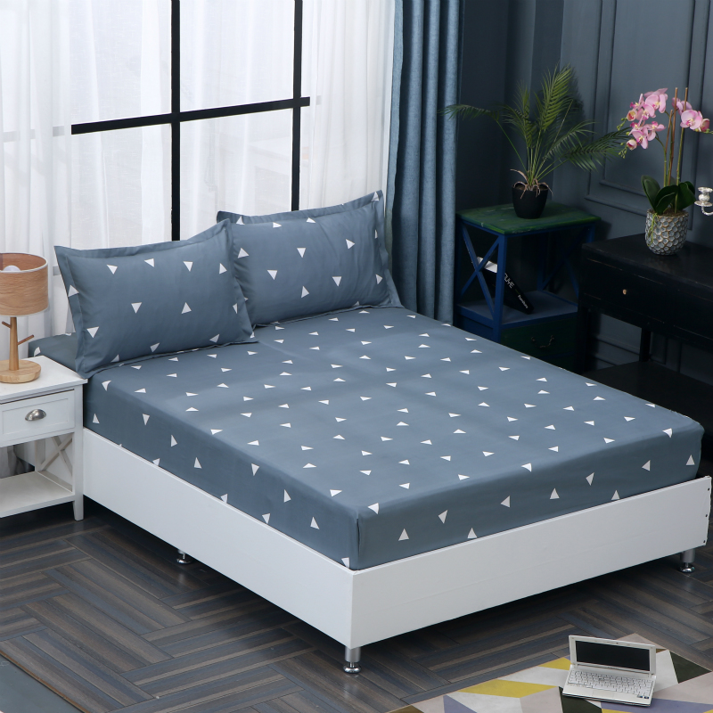 Bedroom Hotel Polyester Mattress Cover Geometric Cartoon Animals Rabbits Fitted Sheet Solid Color Bed Protector Pad couvre lit