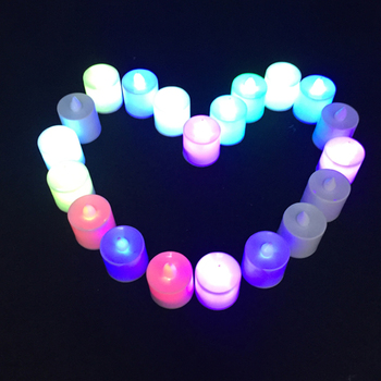 Hot selling 100pcs Battery Powered LED Simulation Multicolor candle lamp Flameless Flashing Tea Light Home Wedding Birthday Part