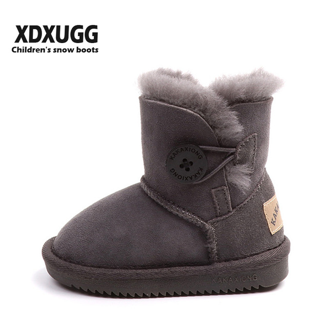 f2d9f6129eb US $54.0 |2018 XDXUGG Sheep fur Sheepkin baby snow boots children's Boys  and girls boots winter soft bottom thick Wool cotton shoes-in Boots from ...