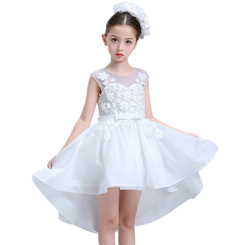 Kids Wedding Flower Girl Dress elegant Princess Party Pageant Formal Dress Crossed Back Sleeveless Lace Tulle Dovetail dress 2017 kids girls wedding flower girl dress princess party pageant formal dress crossed back sleeveless lace tulle dress 2 14y