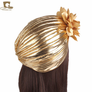 Image 3 - ใหม่แฟชั่นผู้หญิงหรูหรา king ดอกไม้ metallic Turban หมวกหมวก Bonnet Chemo หมวกมุสลิมผ้าพันคอ Hijab อิสลาม Turbante