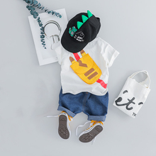 New Infant Baby Boy Outfit Cartoon T-shirt+Jeans Shorts 2pcs Boys Clothes Set Brand Summer Short Sleeve Cotton Newborn Suit