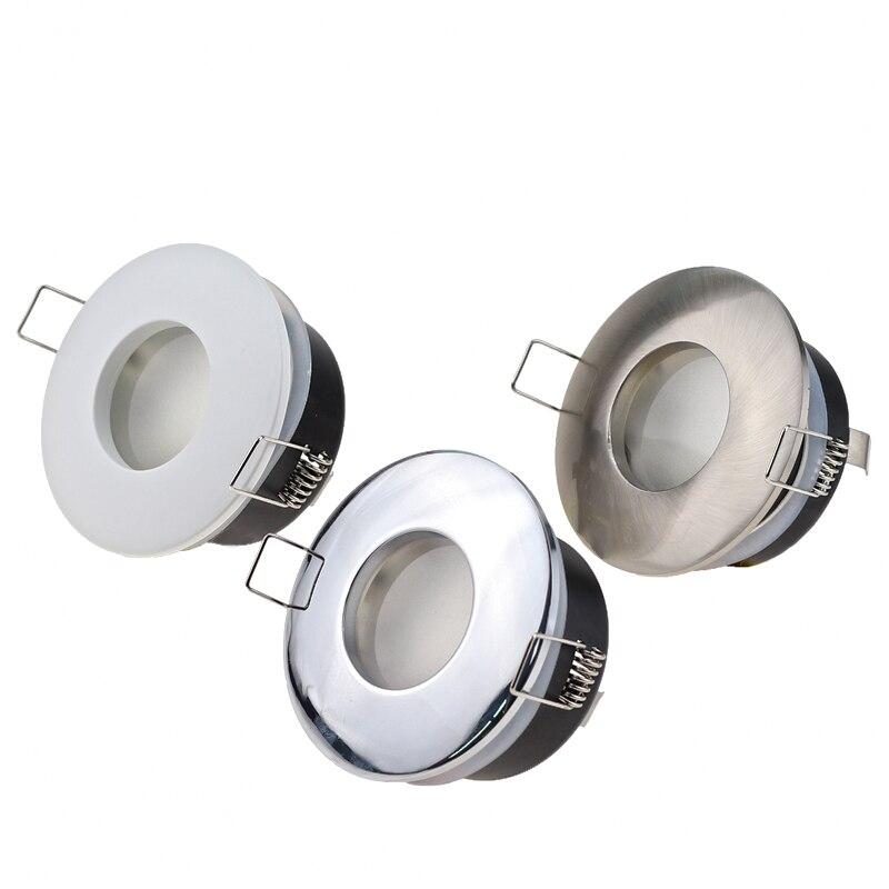 راحة الزنك سبائك الأبيض/النيكل/الكروم للماء GU10 MR16 IP65 مصابيح LED مستديرة السقف النازل تركيبات إطار حامل للحمام