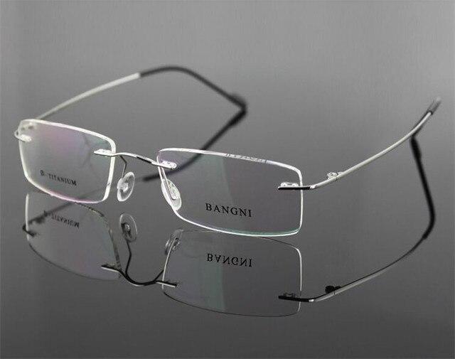 9 colors Lightest Design Brand Bangni Rimless Non-screw Foldable Leg Pure Titanium Optical Eyeglasses Frame Prescription Glasses