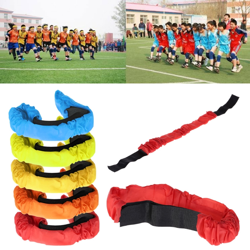 3 Legs Race Band Elastic Tie Rope Strap Cooperation Training Outdoor Family Game