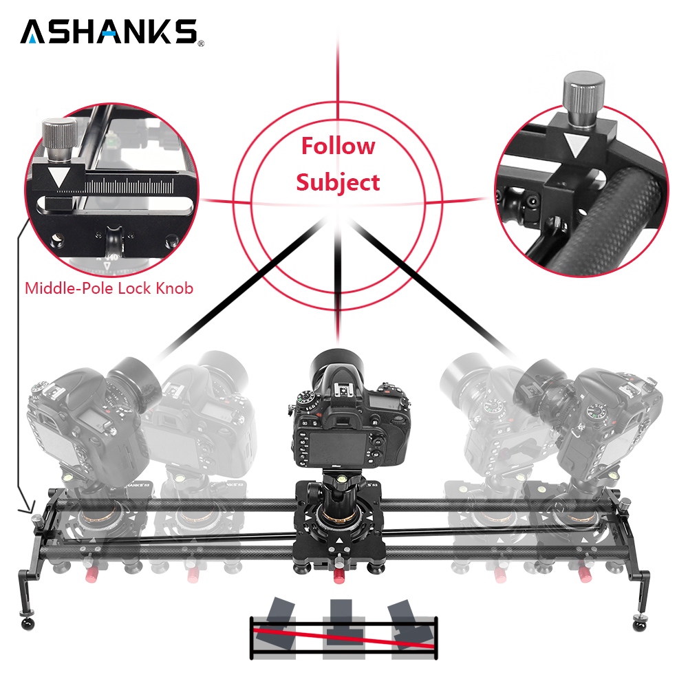 ASHANKS S2 Track Camera Slider Carbon Fiber Adjustable Angle Tube Follow Focus Pan for Stabilizer DV DSLR Camera Video Shooting ashanks 60cm camera track slider 4 bearings rail slide aluminum alloy photography dv studio stabilizer for dslr video camcorder