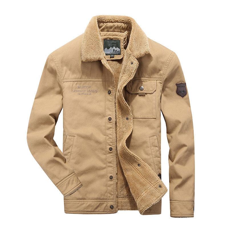 Hommes automne hiver marque militaire Cargo coton polaire manteau & veste Parkas poches vers le bas col décontracté manteau d'affaires veste kaki