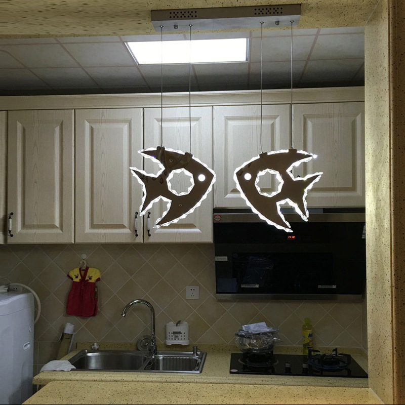 LED crystal chandelier stainless steel dining hall, bedroom, bar crystal lamp, small fish lamps, lamps and lanternsLED crystal chandelier stainless steel dining hall, bedroom, bar crystal lamp, small fish lamps, lamps and lanterns