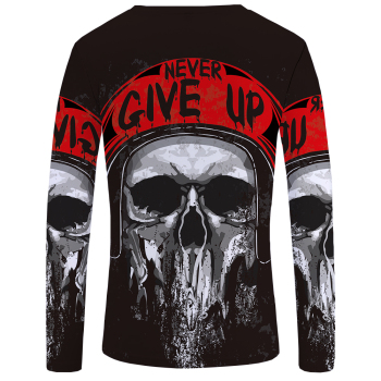 """Never Give Up"" Skull Print Shirt"