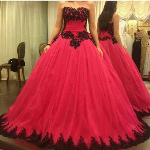 Hot S Red Black Wedding Dress Lace Lique Tulle Ball Gown Floor Length Up