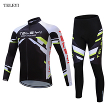 TELEYI Pro Mens Clothing Set Maillot Ropa Ciclismo MTB Bike Bicycle Cycling Long Sleeve Jersey & Bib Pants Suit Black