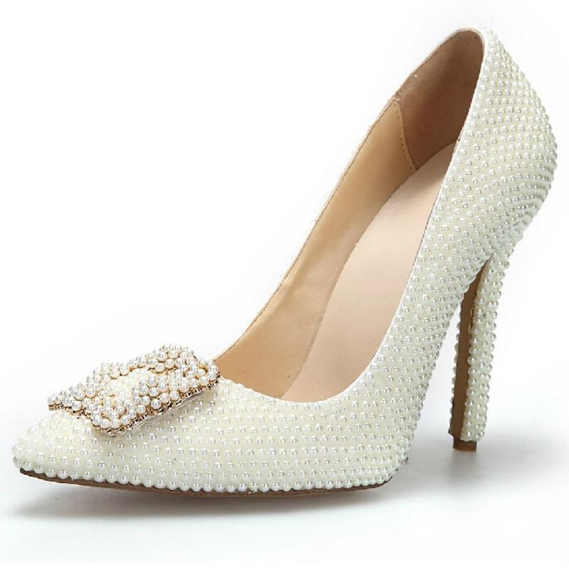 Fashion Elegant Ivory Color Bridal Dress Shoes Women