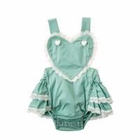 Bebek Giysileri Yeni Tatlı Kalp Dantel Romper 2018 Avrupa Moda Dot Baskılı Ruffles Bebek Kız Tulum Toddler Çocuk Rompers