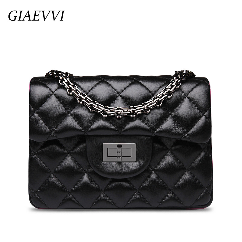 GIAEVVI Women Genuine Leather Handbag Luxury Chain Bag Small Shoulder Bags Ladies Crossbody bags for women Designer Handbags genuine leather studded satchel bag women s 2016 saffiano cute small metal rivet trapeze shoulder crossbody bag handbag