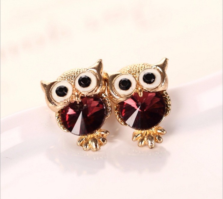 New Design Crystal Women Charms Owl Stud Earrings Five Colors Fashion Jewelry White Gold Plated Cute Trendy For Wedding HFNE